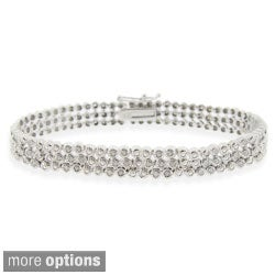 DB Designs Silvertone 1ct TDW 3-row Diamond Bracelet