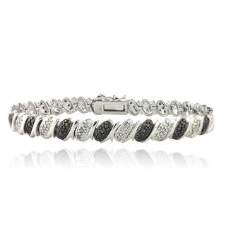 DB Designs Rhodium Plated 1ct TDW Diamond Pattern Bracelet
