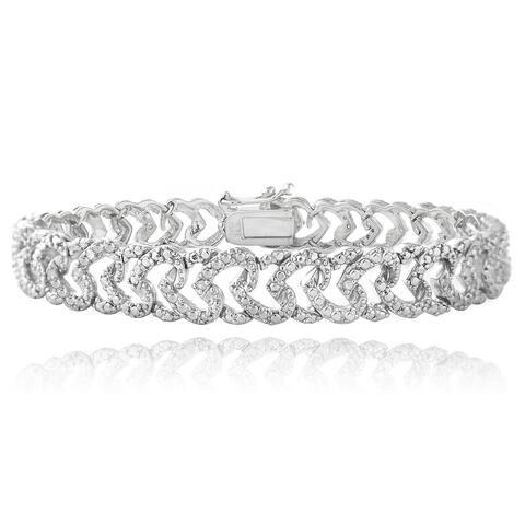 DB Designs Rhodium-plated 1/10ct TDW Diamond Heart Link Bracelet