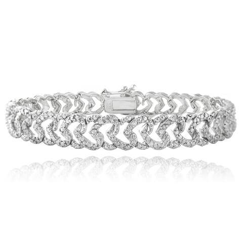 DB Designs Plated 1ct TDW Diamond Heart Link Bracelet