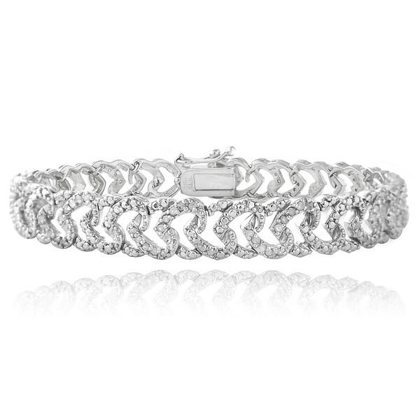 DB Designs Plated 1ct TDW Diamond Heart Link Bracelet. Opens flyout.