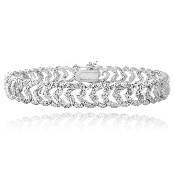DB Designs Plated 1ct TDW Diamond Heart Link Bracelet (I-J, I2-I3)