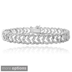 DB Designs Plated 1ct TDW Diamond Heart Link Bracelet (I-J, I2-I3)