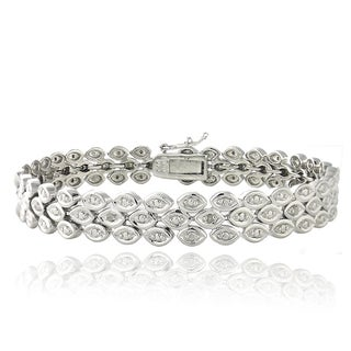 DB Designs Rhodium-plated 1/10ct TDW Diamond 3-row Bracelet (I-J, I2-I3)