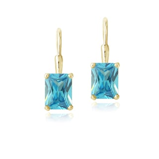 Icz Stonez 18k Gold over Silver Blue Cubic Zirconia Drop Earrings