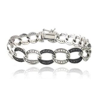 DB Designs Rhodium-plated 1ct TDW Black Diamond Pattern Link Bracelet
