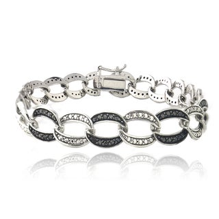 DB Designs Rhodium-plated 1ct TDW Black Diamond Pattern Link Bracelet