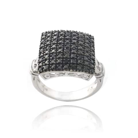 DB Designs Rhodium-plated 1/4ct TDW Black Diamond Square Ring