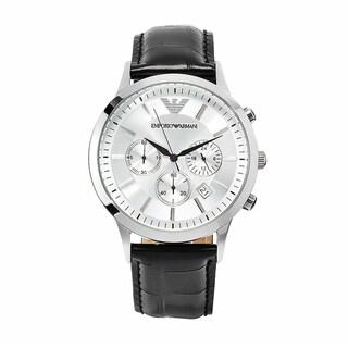 Emporio Armani Men's AR2432 Classic Black Leather Chronograph Watch