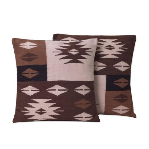 Handmade Set of 2 Alpaca 'Starlight on Earth' Cushion Covers (Peru)