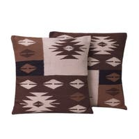 Handmade Set of 2 Alpaca 'Starlight on Earth' Cushion Covers (Peru)