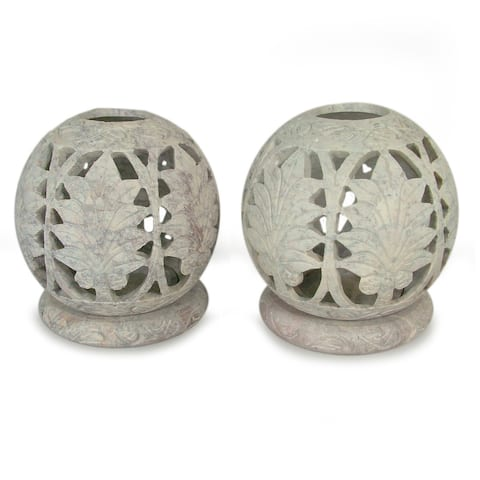 Handmade Foliage Soapstone Candleholder, Set of 2 (India)