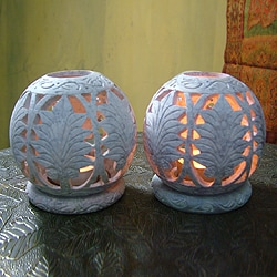 Set of 2 Handcrafted Soapstone 'Foliage' Candleholders (India)