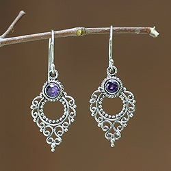 Handcrafted Sterling Silver 'Joy' Amethyst Earrings (Indonesia)