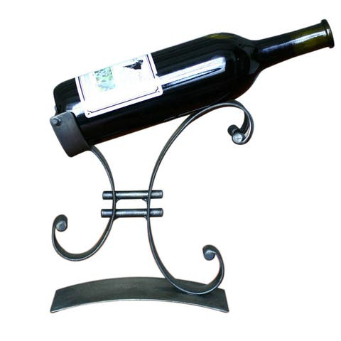 "Handmade Iron 'Close to You' Wine Bottle Holder (Peru) - 8.75""x8.75"""