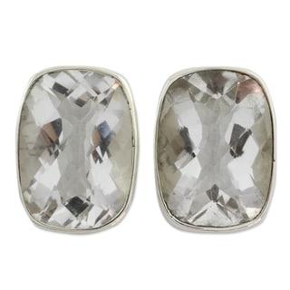Link to Handmade Sterling Silver Crystal Mirror Quartz Earrings (India) Similar Items in Earrings