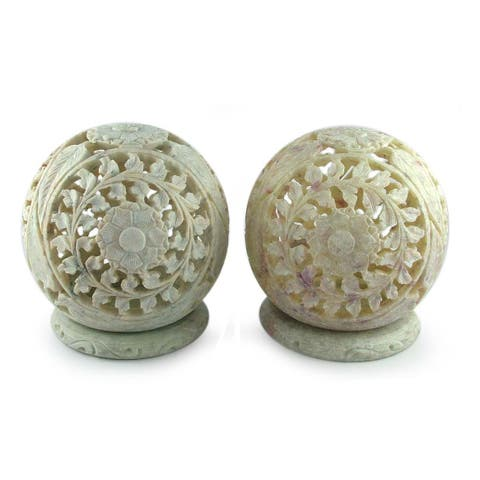 Handmade Flower World Soapstone Candleholder, Set of 2 (India)
