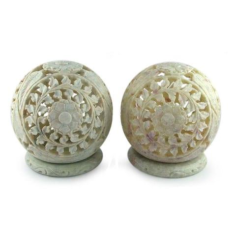 Handmade Flower World Soapstone Candleholder, Set of 2 (India)