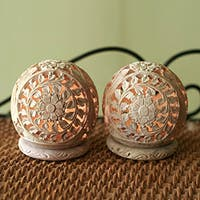 Set of 2 Handcrafted Soapstone 'Flower World' Candleholders  , Handmade in India