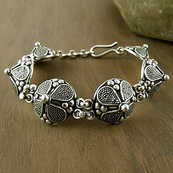 Blossoming Shields Handmade Flower Shield Medallions in Oxidized 925 Sterling Silver Adjustable Womens Link Bracelet (India)
