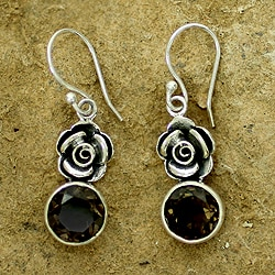 Handmade Sterling Silver 'Roses of India' Smoky Quartz Earrings (India)
