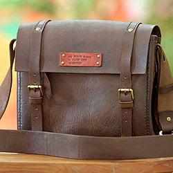 Road To Success Vintage Handmade Artisan Designer Men's Medium Size Brown Leather Briefcase Book Messenger Bag (Indonesia)