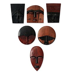 Set of 6 Handcrafted Guarea Wood 'African Masks' Ornaments (Ghana)