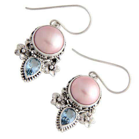 Sterling Silver 'Love' Pearl and Topaz Earrings (13 mm)