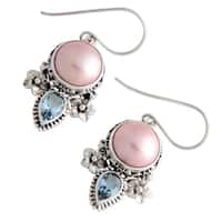Handmade Sterling Silver 'Love' Pearl and Topaz Earrings (13 mm) (Indonesia)
