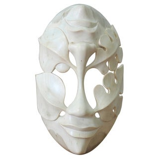 Handmade Hibiscus Wood 'Life's Ups and Downs' Mask (Indonesia) - Brown