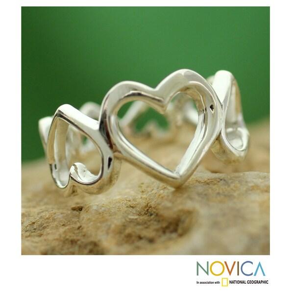 Handmade Sterling Silver 'Upside Downside Love' Ring (India)