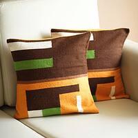 Handmade Set of 2 Alpaca Blend 'Andean Moon' Cushion Covers (Peru)