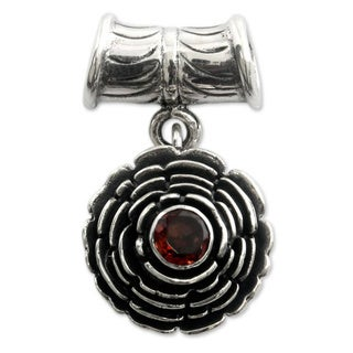 Handmade Sterling Silver 'January Carnation' Garnet Pendant (Indonesia)