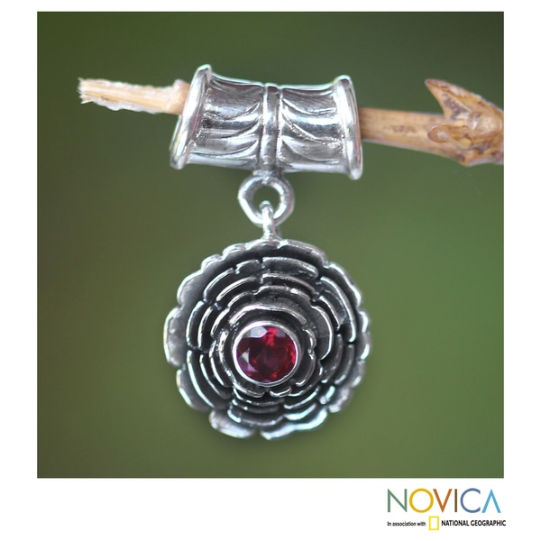 Sterling Silver 'January Carnation' Garnet Pendant (Indonesia)
