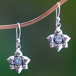 Sterling Silver 'March Daffodil' Aquamarine Earrings (Indonesia)
