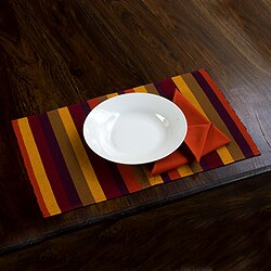 Handmade Set of 4 Cotton 'Casaca Fiesta' Placemats and Napkins (Guatemala)