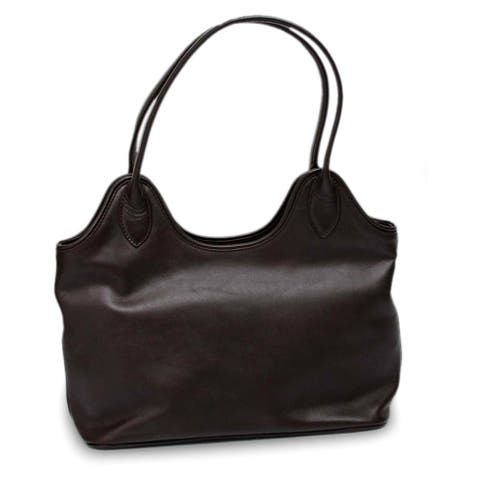 Miraflores Chic Zippered Top with Interior Pocket Rich Soft Supple Deep Brown Leather Womens Shoulder Style Handbag (Peru)