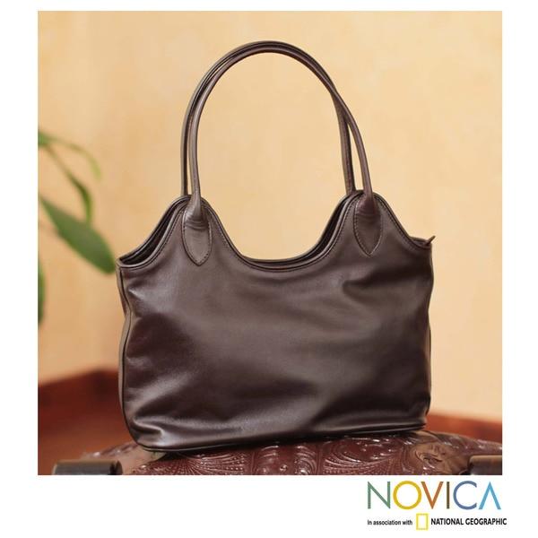 Miraflores Chic Zippered Top with Interior Pocket Rich Soft Supple Deep Brown Leather Womens Shoulder Style Handbag (Peru)