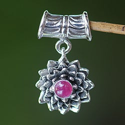 Sterling Silver 'July Water Lily' Ruby Pendant (Indonesia)