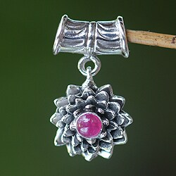 Handmade Sterling Silver 'July Water Lily' Ruby Pendant (Indonesia)