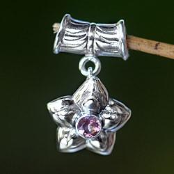 Handmade Sterling Silver 'October Marigold' Pink Tourmaline Pendant (Indonesia)