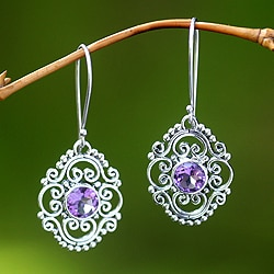 Sterling Silver 'Gianyar Muse' Amethyst Earrings (Indonesia)