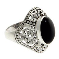 Handmade Sterling Silver 'Silence' Onyx Ring (Indonesia)