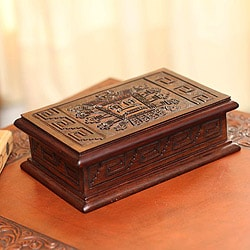 Handcrafted Cedar Wood and Leather 'Inca Sun God' Jewelry Box (Peru)