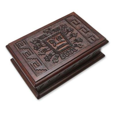 Handmade Cedar Wood and Leather 'Inca Sun God' Jewelry Box (Peru)