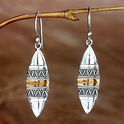 Gold Overlay 'Golden Bali Surfboards' Earrings (Indonesia)