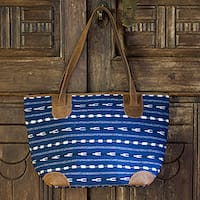 Handmade Cotton Leather Accent 'Blue Maya' Medium Shoulder Bag (Guatemala)