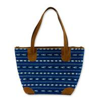 Handmade Cotton Leather Accent 'Blue Maya' Medium Shoulder Bag (Guatemala)