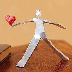 Aluminum 'A Heart for Love' Sculpture , Handmade in Peru
