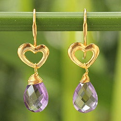 Gold Overlay 'Time to Love' Amethyst Earrings (Thailand)